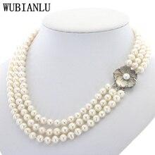WUBIANLU 3 行 7 8 ミリメートルホワイト淡水真珠のネックレスのチェーン花ボタンジュエリー女性ガールの宴会 17  19 InchFashion チャーミング