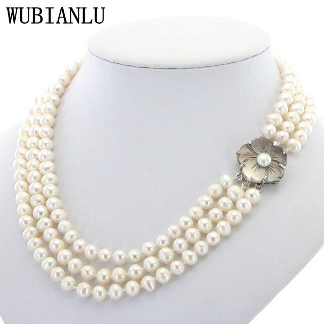 WUBIANLU 3 Reihe 7 8mm Weiß Süßwasser Perle Halskette Kette Blumen Tasten Schmuck Frauen Mädchen Bankett 17  19 InchFashion Charming