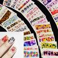 54 шт., смешанные 54 дизайна, цветочный дизайн ногтей, полное покрытие, наклейки для ногтей, наклейки для ногтей, Водная передача, маникюр, сове...