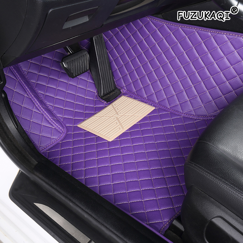 CAR FLOOR MATS FOR FIAT PUNTO BRAVO 500 500L PANDA 500X BLACK WITH PURPLE TRIM