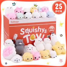 Satkago 25 pçs bonito kawaii macio espremer animal dos desenhos animados brinquedo para crianças adultos alivia ansiedade estresse decoração de casa