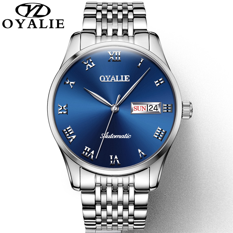 OYALIE Men Watch Roman Numerals Automatic Mechanical Multifunction Watch Calendar Luxury Waterproof Watch For Men Business Watch