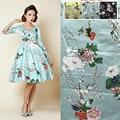 Plum Printed Cotton Satin Yellow Fabric Clothing Fashion Japanese Kimono Diy Fabric Fabrics Per Meter for Dress Sewing Material