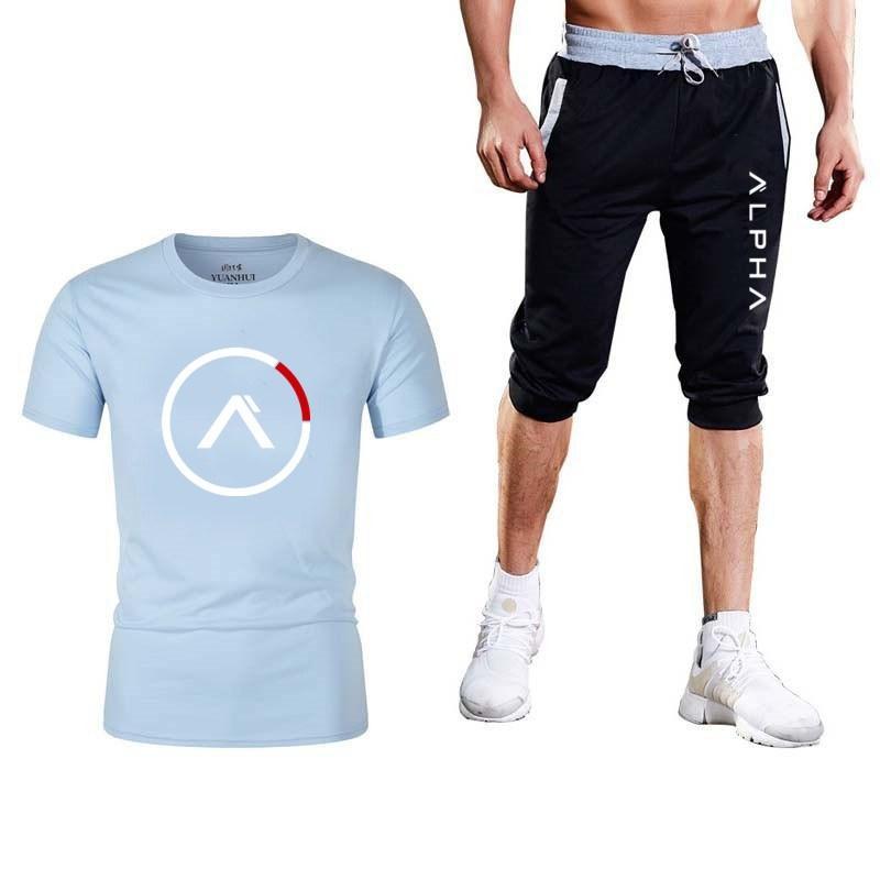 2020 Fashion Sportswear Men's Suit Summer Sportswear New Brand Two-piece Short Sleeve Printed T-shirt Top