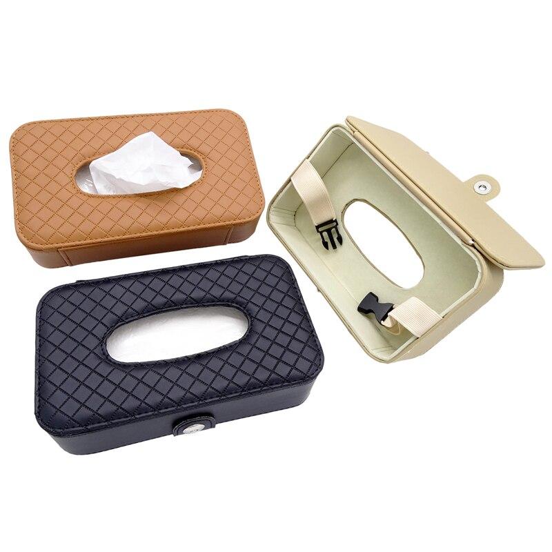 1 Pcs Car Universal PU Leather Sun Visor Hanging Tissue Box Armrest Seat Back Holder Napkin Case Black/Beige/Brown Paper Box