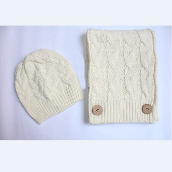 Scarf for Women Warm Headgear Set Winter hat Scarf set winter knitted hat ski hat cap wool cap warm knitting cap Xmas gift fashion 2 use cap knitted scarf