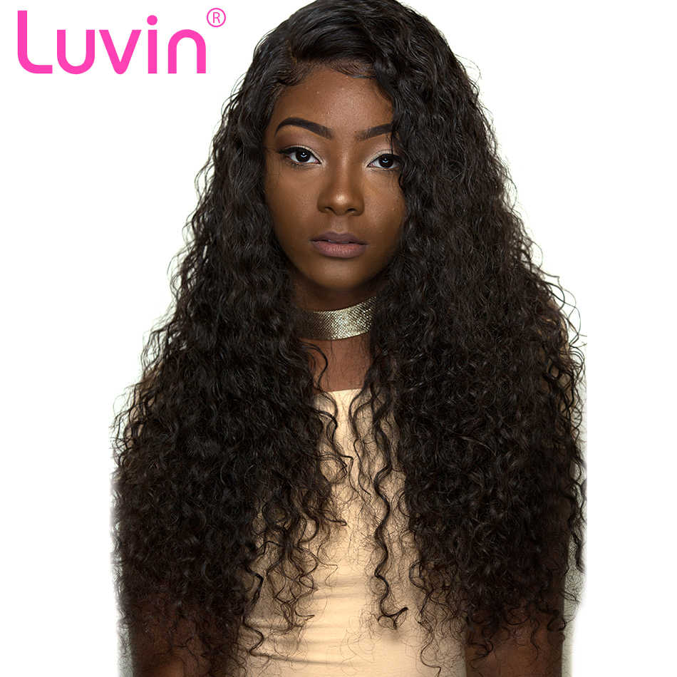 Luvin Deep Wave 360 Lace Frontal Wig Pre Plucked With Baby Hair Brazilian Curly 13x6 Lace Front Human Hair Wigs For Black Womem