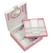2019 New Jewelry Box Double Layers With Mirror Storage 4 Color Exquisite Design Dressing Square