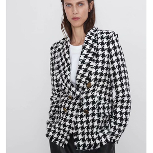RR Double Breasted Blazers Women Fashion Houndstooth Casual Jackets Women Elegant Long Sleeve Suits Female Ladies HT(China)