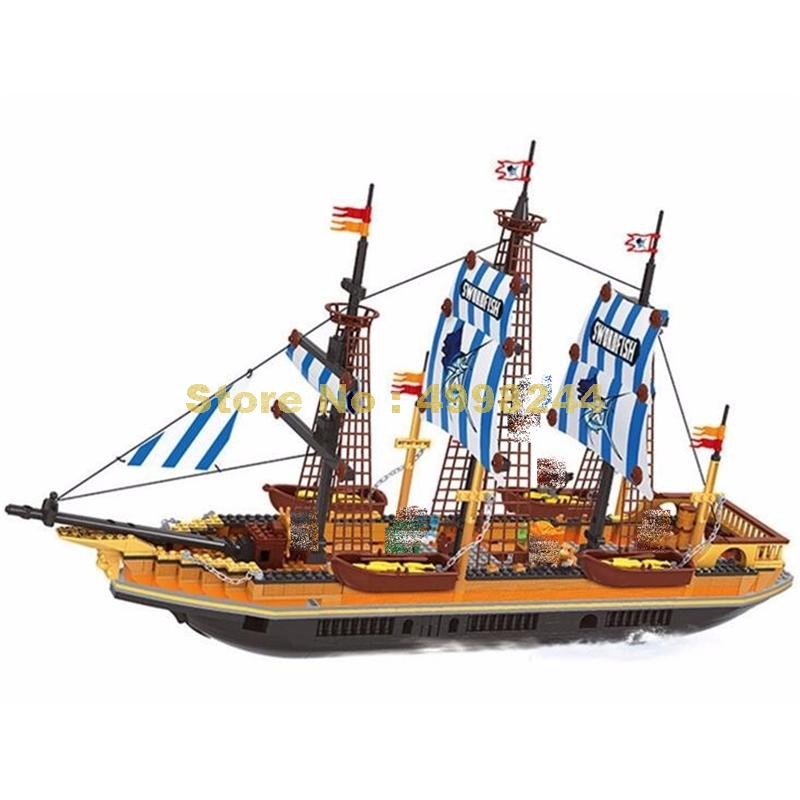 ausini 27806 857pcs pirates large fishing vessels building blocks Bricks Toy