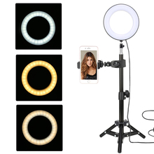 Led Video Ring Light 6-inch with Tripod Stand Selfie Ring Photography Photo Studio Lamp Dimmable Game Makeup Live Video Lighting capsaver 2 in 1 kit led video light studio photo led panel photographic lighting with tripod bag battery 600 led 5500k cri 95
