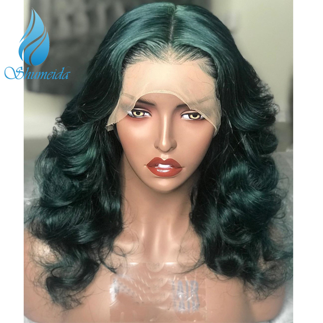Green Color Lace Front Wigs With Baby Hair Loose Deep Wave Brazilian Remy Human Hair Wigs Pre Plucked Hairline 13*6 Frontal Wig 2