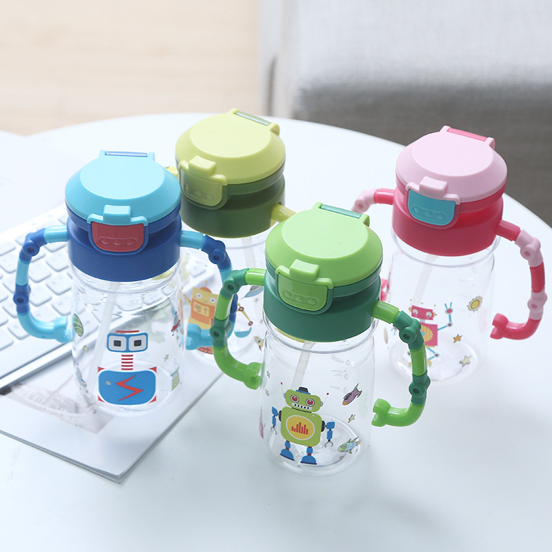 2019 Robot Children Cup With Straw 450ml Creative Modeling Cartoon Sippy Cup With Straw PC Portable Drop-resistant
