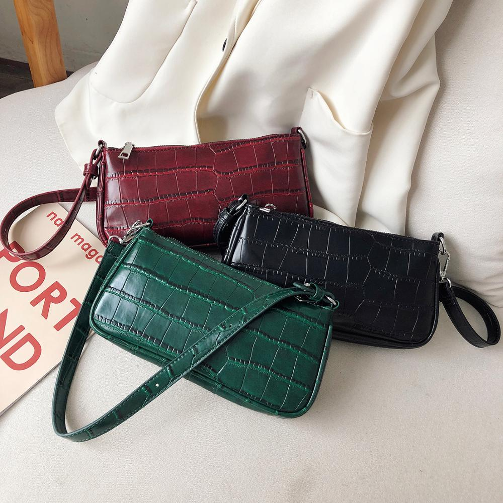 Embroidery Thread Solid Color Scrub Leather Crossbody Bags 2019 Small Shoulder Messenger Bag Female Chain Handbags
