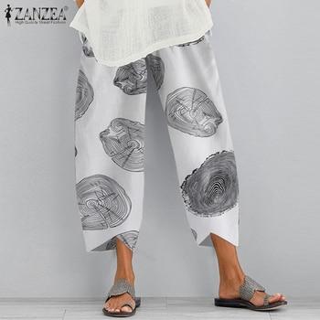 Kaftan Print Pants Womens Summer Cropped Tousers ZANZEA Casual Elastic Waist Long Pantalon Palazzo Female Harem Pant Oversized
