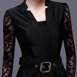 Qualitäten Frauen Mode Spitze Langarm Patchwork Stehen Kragen Overalls V-ausschnitt Slim Fit Büro Damen Voller Länge Hose