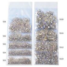 1 упаковка SS3-SS20 горный хрусталь кристалл Ab 3D дизайн ногтей драгоценные камни прозрачный с плоским основанием, не патч алмаз