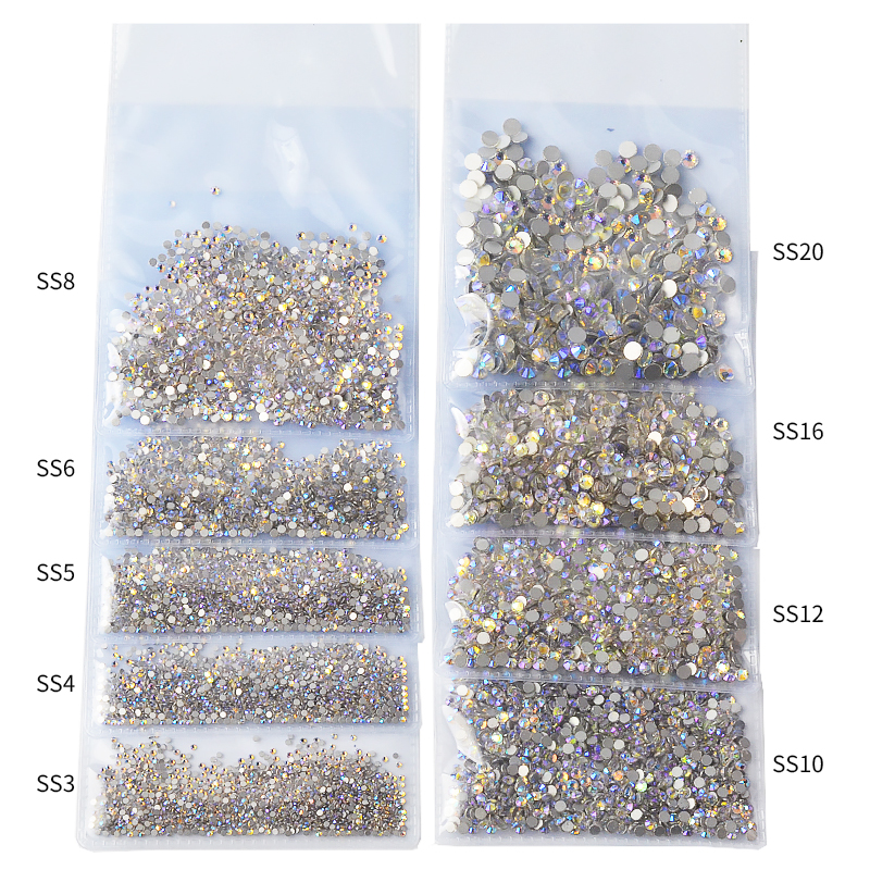 1 Pack SS3-SS20 Rhinestone Crystal Ab 3D Nail Art Gems Clear Flatback Non Hotfix Diamond