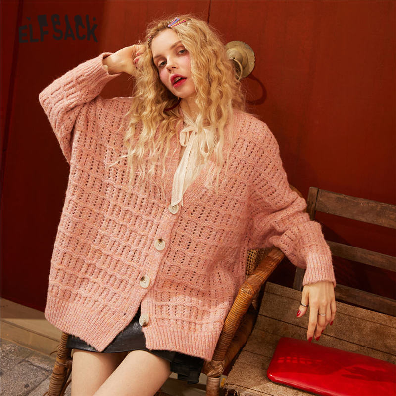 ELFSACK Pink Solid Hollow Out Knit Korean Cardigan Women Sweaters 2020 Spring Single Button Long Sleeve Loose Casual Ladies Tops