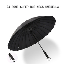 Windproof 24 bone fiber straight rod automatic umbrella long handle golf business gift anti-storm snow