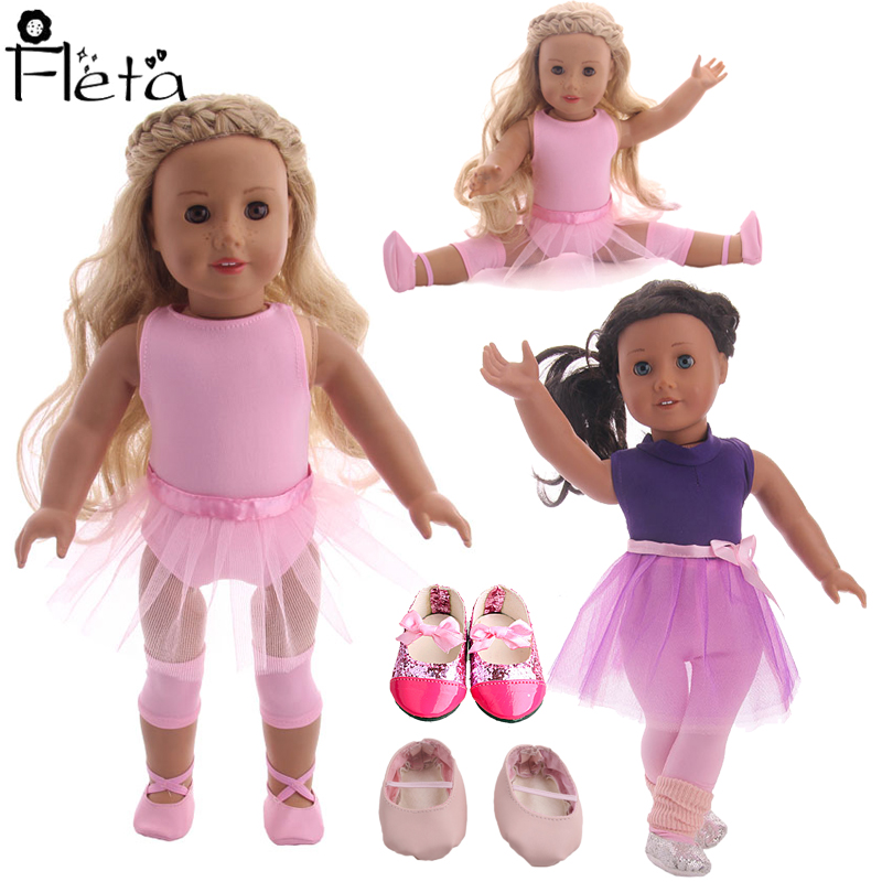 Doll Ballet Lace Sequin Dress,Dance Shoes For 18 Inch American Doll&43Cm Born Baby Our Generation,Birthday Girl's Toy Gift