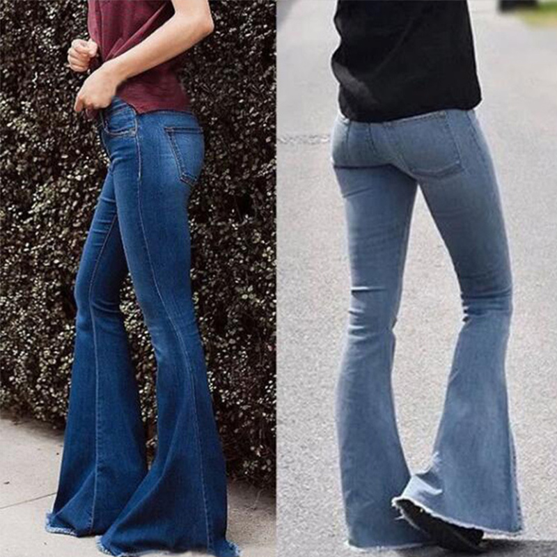 2020 High Waist Jeans Woman Vintage Female Flare Jeans For Women Vintage Wide Leg Pants Denim Plus Size Bell Bottom Mom Jeans