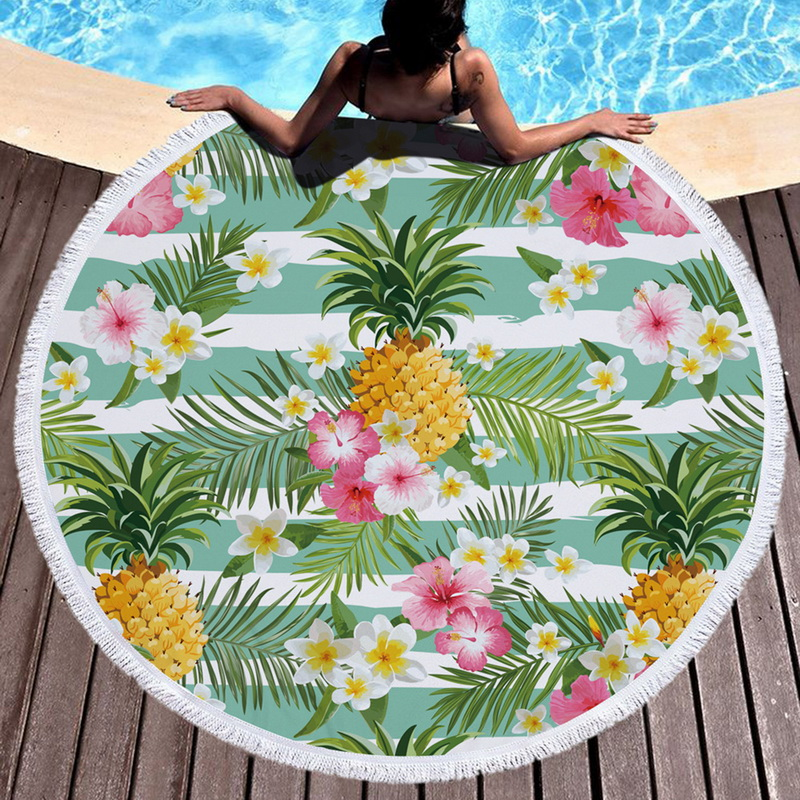 Pineapple Round Beach Towel With Tassel Flamingo Large Blanket Picnic Yoga Mat Travel Boho Tablecloth Toalla De Playa