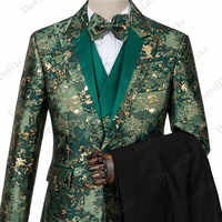 New Man Fashion Green Jacquard Eye-catching High Quality Party Blazer+Pants+Vest Suits Male Casual Slim Blazer Coat Suit
