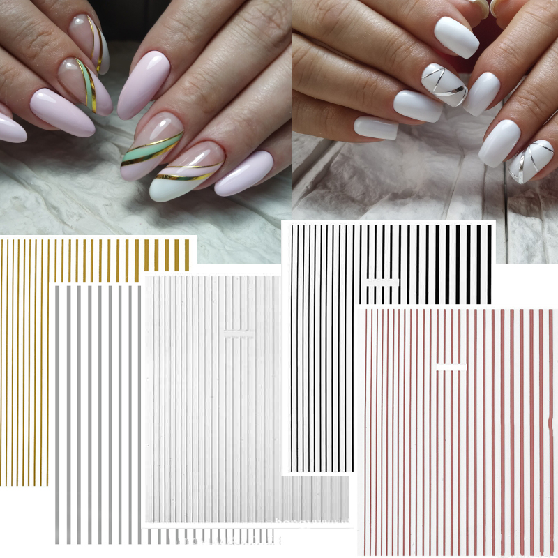 DIY Line-1 3D Nail Sticker Self-adhesive Decals Tips Manicure Art Stickers