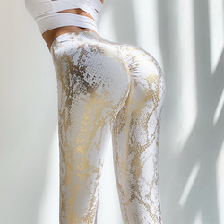 Elastic Snake Print Glitter Seamless Leggings Women Sexy Butt Lift High Waist Yoga Pants Fitness Push Up Gym Slim Leggings