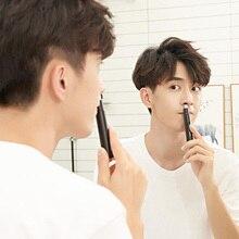 Xiaomijia showsee mini aparador de pêlos de nariz masculino elétrico portátil removível lavável duplo afiado 360 cabeça de corte rotativo