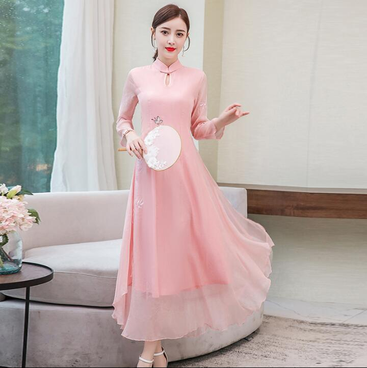 Woman Traditional Chinese Dress Long sleeve Printing Oriental Dresses Robe Spring
