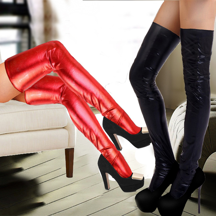 2 Pairs Foreign Trade Paint Leather Glue Sexy Stretch Stockings Black And Red Paint Leather Sex Toys Tie
