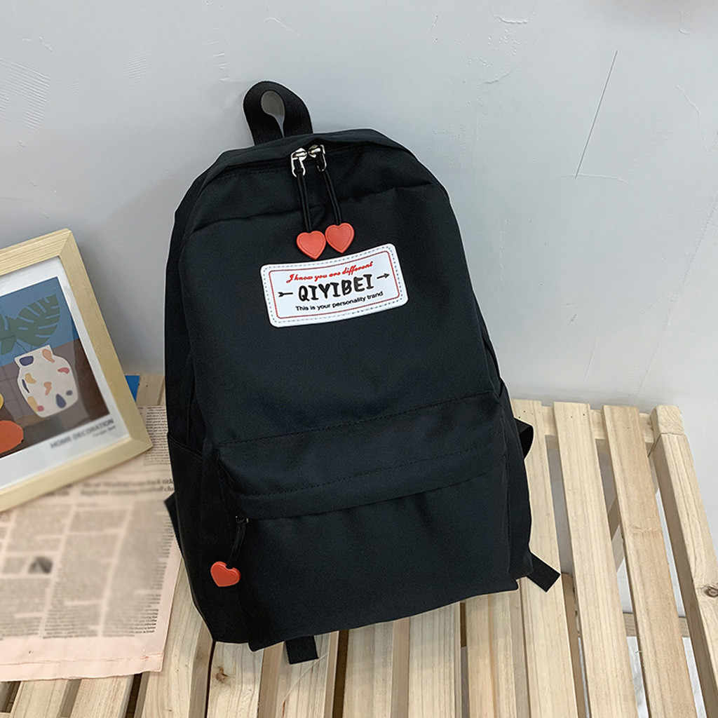 Fashion Lady Nylon Cute Solid Color Large Capacity Student Bag Backpack Canvas Polyester Fashion Square School Bags Girls 2020