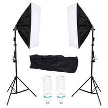 Photography Studio 2x135W Soft Box Continuous Lighting Softbox Light Stand Kit with Oxford Bag photography studio soft box flash lighting kits 900w 220v storbe light softbox light stand umbrella trigger receiver set