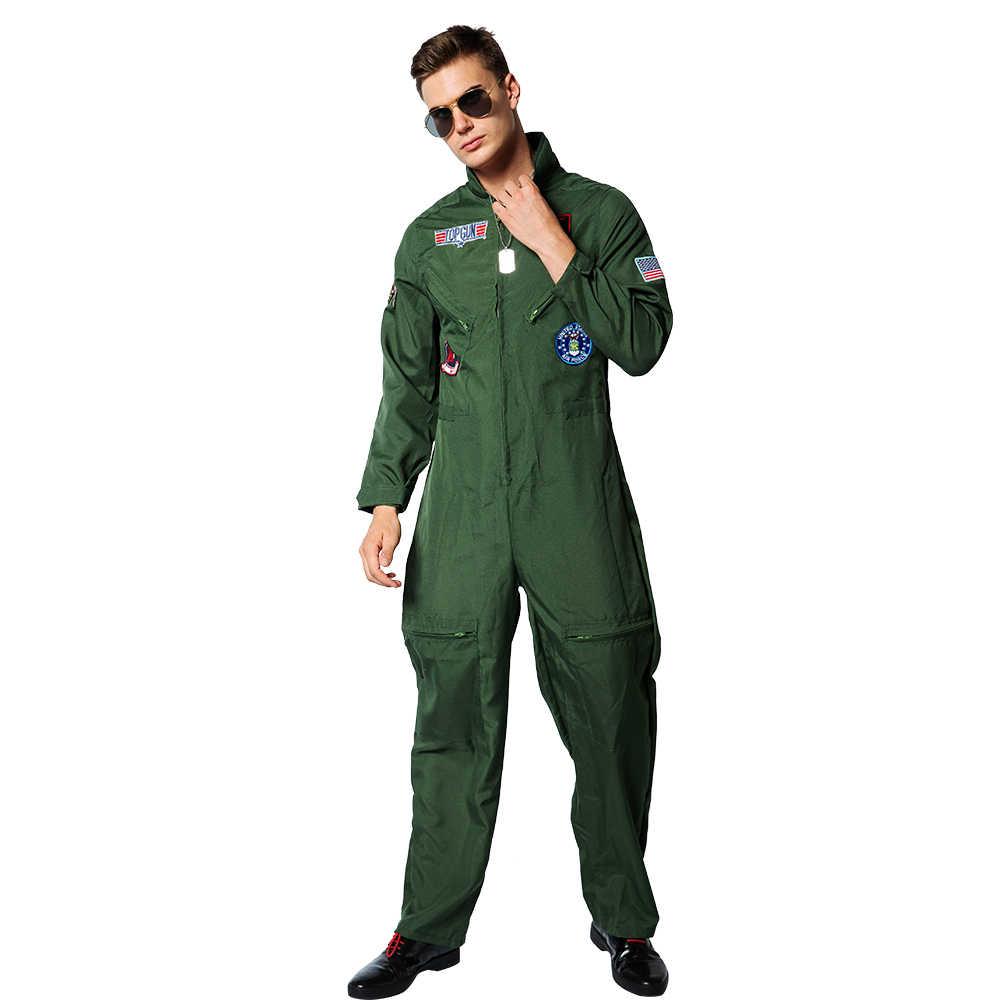 Eraspooky Top Gun COSPLAY อเมริกัน Airforce ชุดเครื่องแต่งกายฮาโลวีนสำหรับชายผู้ใหญ่กองทัพสีเขียวทหารนักบิน Jumpsuit