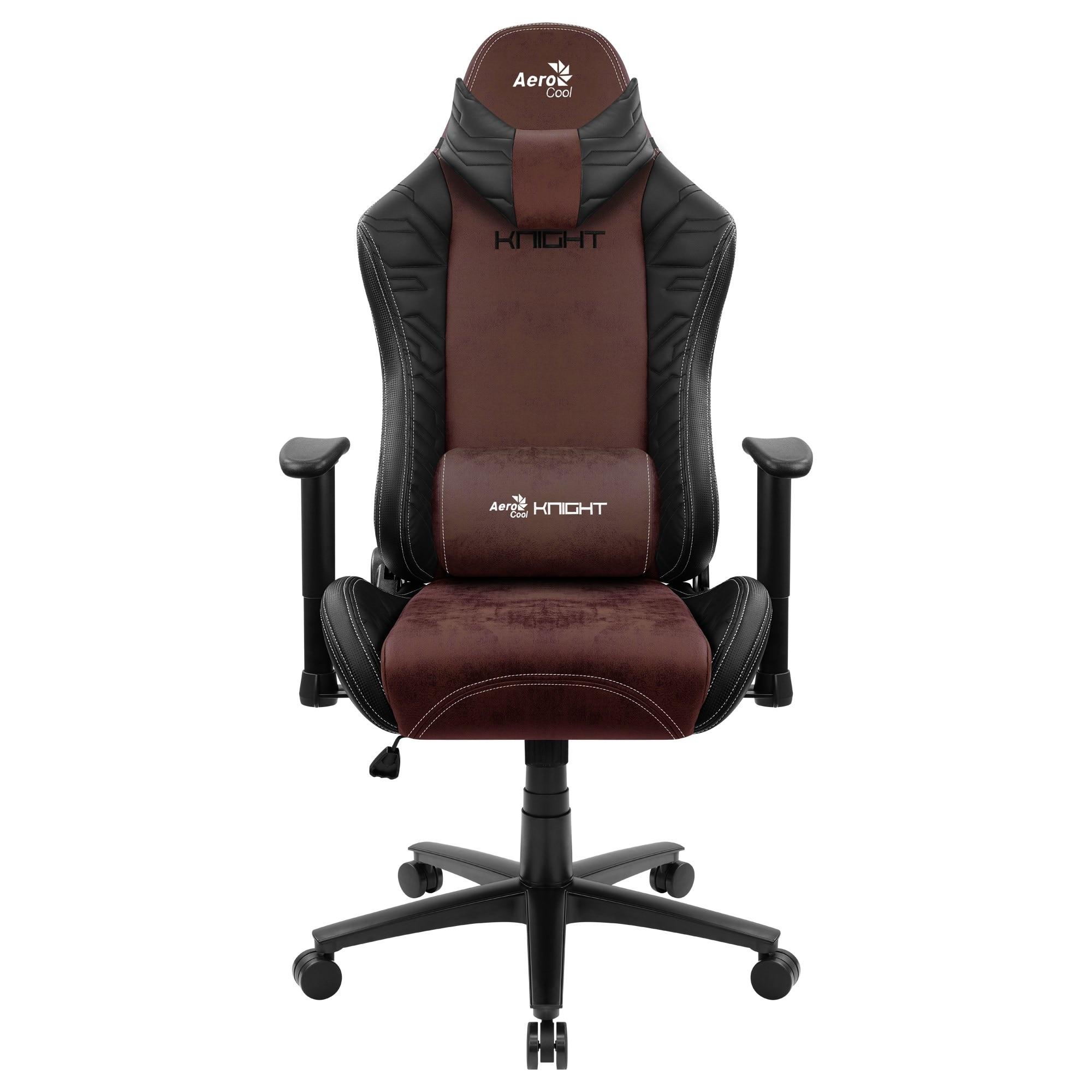 Aerocool KNIGHT, Gaming Chair, AeroSuede Breathable, Backstop Adjustable, Black