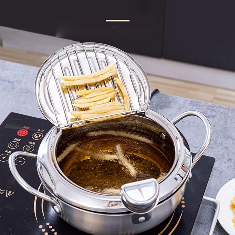 Details about  /Japanese Style Mini Frying Pot Fryer with Thermometer for Gas//Induction Cooker
