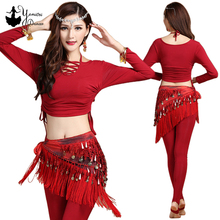 Modal Womens Belly Dance Costume Set Women Long Sleeve Indian Practice Clothes Top and Pants 2020 New