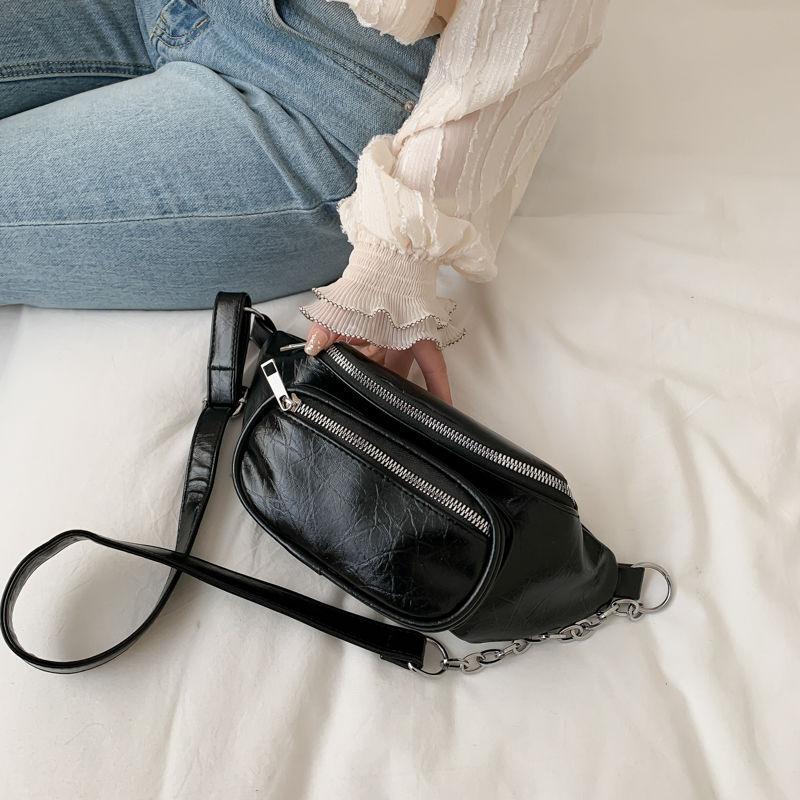 Women Waist Bag Fashion Leather Belt Chest Bag Chain Fanny Packs for Women Black Solid Double Zipper Banana BumBag Phone Pouch