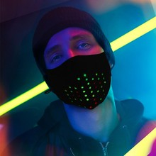 Rave Party Christmas Voice Control Mask Dynamic Talking Faux Luminous Led Face Mask Breathable Rubber Elastic Tendon Ear Loop
