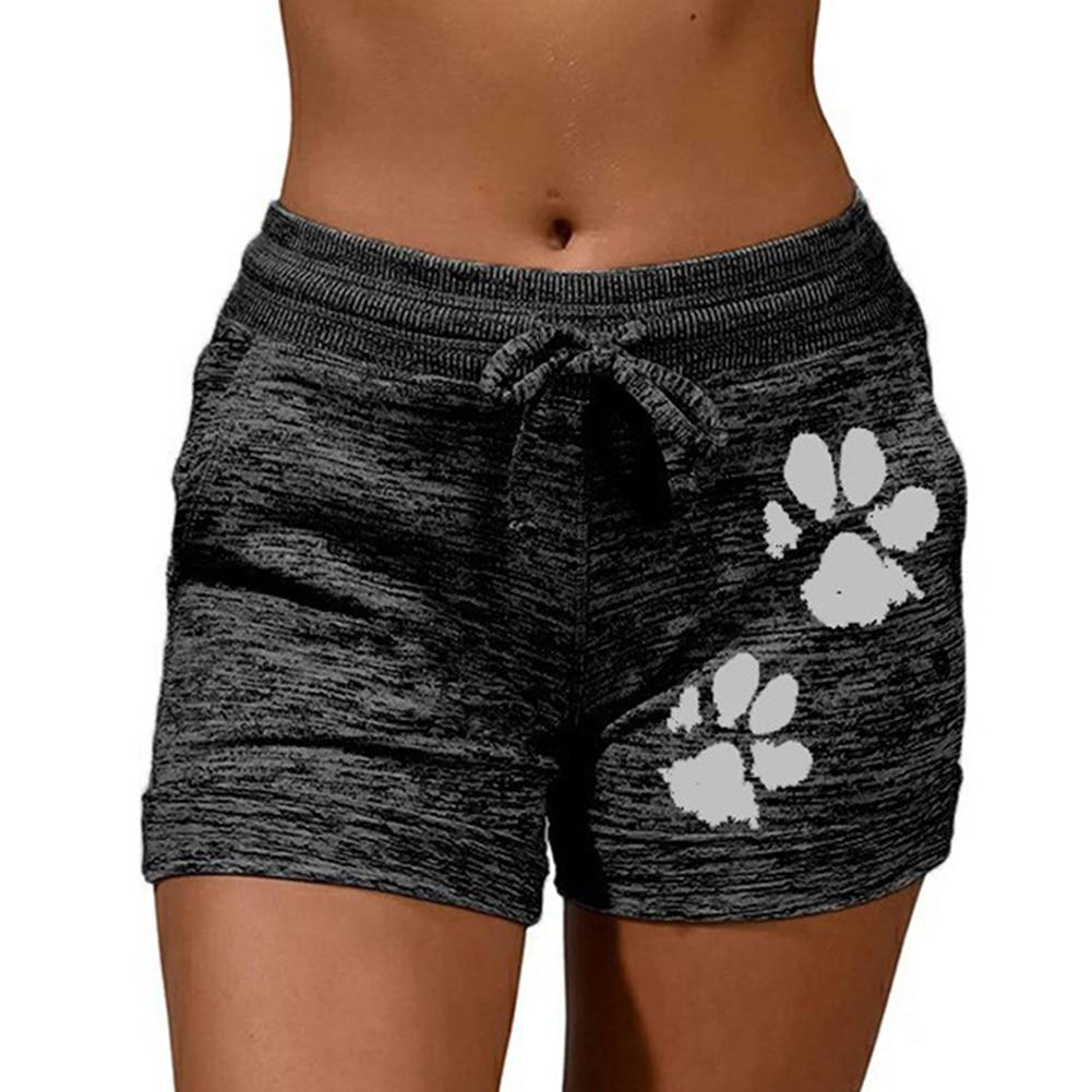Woman shorts Women High Waist Cats Claw Print  3