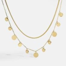 14k chapeamento de ouro 316l aço inoxidável cobra pilar corrente dot colar para as mulheres multi minúsculo círculo redondo disco charme gargantilha jóias