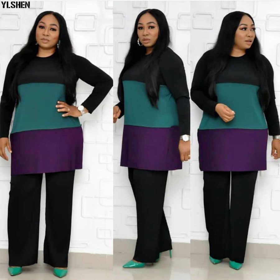 2 שתי חתיכה להגדיר אפריקה בגדים אפריקאי בגדים בתוספת גודל שמלות אפריקאיות נשים אימונית דאשיקי חולצות + מכנסיים ריצה femme