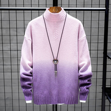 YUECHEN Autumn And Winter Mens New Casual Youth Popular Half-high Collar Contrast Color Sweater Fashion Slim M-3XL