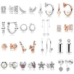 2019 novo 100% 925 prata esterlina rosa ouro pérolas contemporâneas argola luz lunar glacial brinco caber diy feminino jóias originais