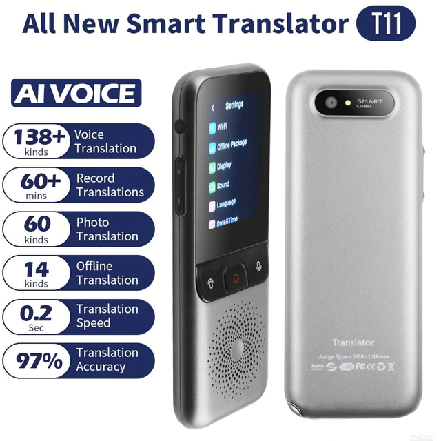 138 ภาษา T11 แบบพกพา Smart Voice Translator Real time Multi Language Speech Interactive ออฟไลน์ Translator ธุรกิจ