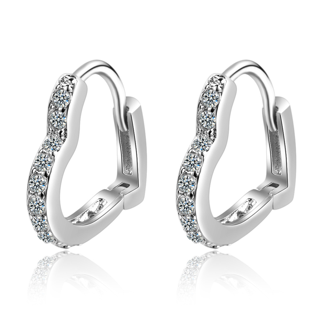 925 Sterling Silver Crystal Heart Stud Earrings For Women Jewelry Christmas boucle d'oreille Hypoallergenic eh487