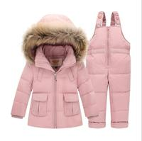 Winter Girls Boy Russia Down Jacket Clothing 30 Degrees Hooded Fur Coat+overalls Toddler Jumpsuits children warm clothing sets