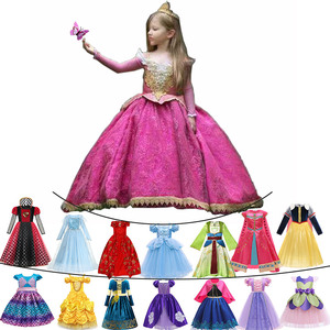 2020 Christmas Party Princess Ball Gown For Baby Girls Deluxe Carnival Aurora Sleeping Beauty Costume Aladdin Jasmine Elsa Dress